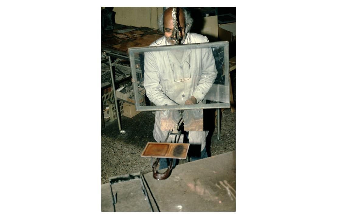 Enamel Studio, Balan Nambiar in front of the oven, 1997